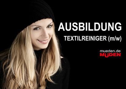 mueden.de, Ausbildung Textilreiniger, Bild zeigt Frau mit schwarzem Hintergrund