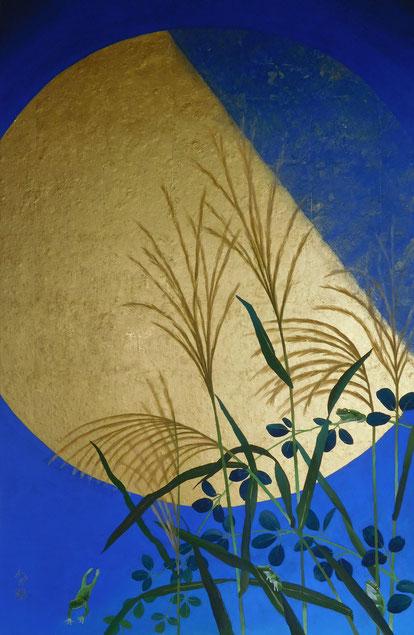 「秋風月見蛙」 日本画(金箔・紙本) 1000x652mm