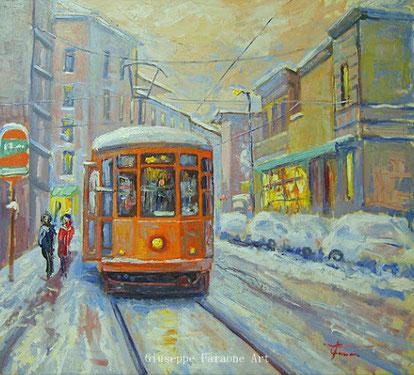 Milano, tram, dipinto , giuseppe Faraone