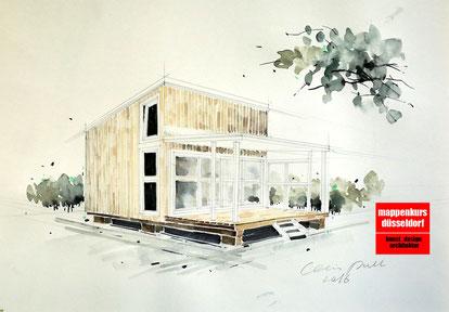 Mappenkurs, Mappenvorbereitungskurs Düsseldorf, Architektur, Architekturzeichnen, Detmold
