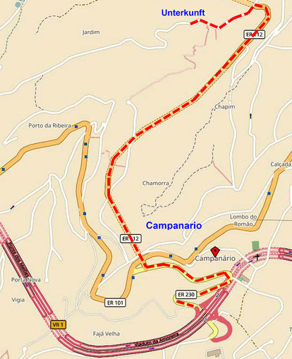 Anfahrt Unterkuft (Quelle: openstreetmap Lizenz CC-BY-SA 2.0).