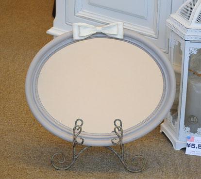 リボンミラー 壁掛け鏡 ウォールミラー イーゼル オーバル おしゃれ ミラー