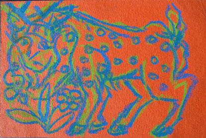 Trauriger Rehbock 9,8 x 15 Kreide Papier 2017