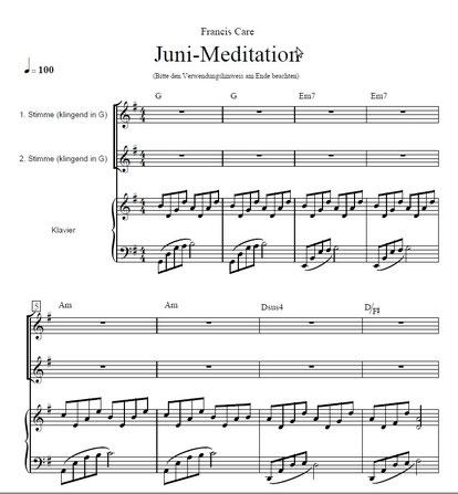 Juni-Meditation mit Klavierstimme
