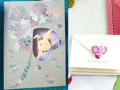 geburtstagskarte, cut-out mit kranich, origami