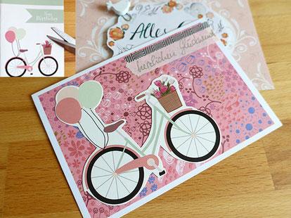 postkarte collage, alte karte, washitape