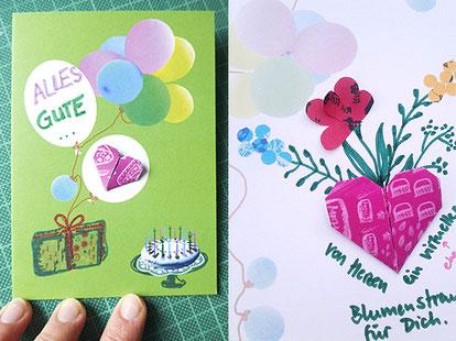 geburtstagskarte, origami herz, papierblumen