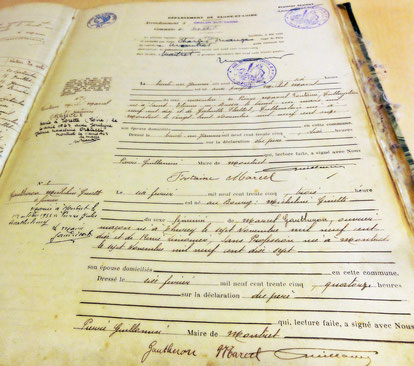 Montret - Registre état-civil, acte de naissance
