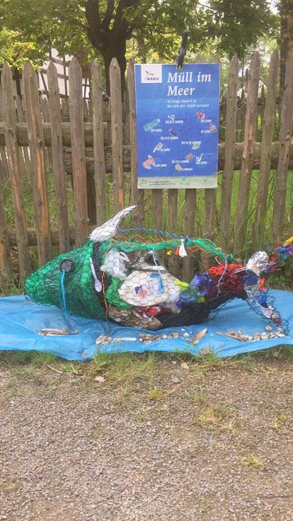 Schautafel zum Thema Plastik im Meer.  Foto: Alfred Glener