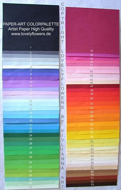 www.lovelyflowers.de verfügt über eine der umfangreichsten High Quality Künstlerpapier-Farbpaletten!