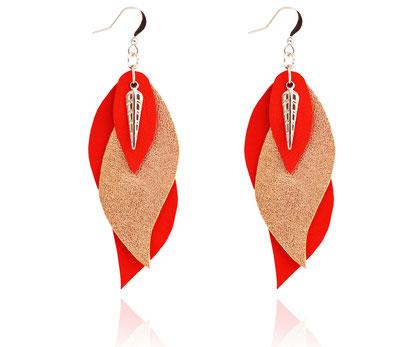 créations bijoux- créateur bijoux- bijoux fait main-bijoux cuir- créateur bijoux cuir- création bijoux- -sarayana-handmade jewelry-leather jewelry-bijoux de créateur- boucles d'oreille cuir- boucles d'oreille rouge-boucles d'oreilles feuilles