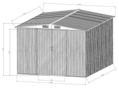 Gerätehaus grün//weiß Gartenschuppen Metall 2050 x 2570 x 1775 Schuppen