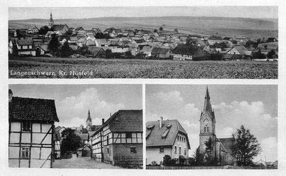 Alte Postkarte von Langenschwarz