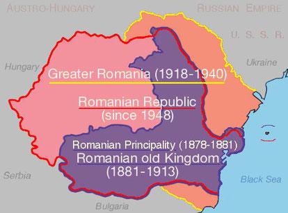 Rumänien Staatsgrenzen 1881 bis heute