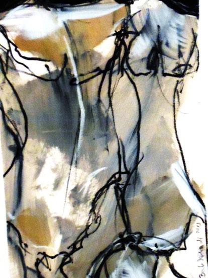 Eine der Torso-Zeichnungen für die Jahresausstellung 2013.