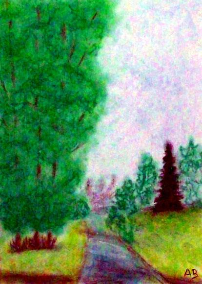 Landschaft mit Bäumen, Landschaftsbild, Pastellmalerei, Bach, Bäume, Wiese, Gras, Wald, Natur, Sommer, Pastellgemälde, Pastellkreide