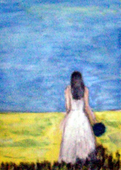 Frau am Feld, Ölgemälde, Sommer, Spaziergang, Frau, Kleid, Hut, Feld, Himmel, Natur, Feminal, Landschaftsbild, Ölmalerei, Ölbild