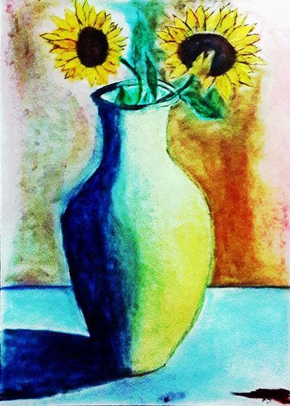 Zwei Sonnenblumen in Vase, Pastellgemälde, Sonnenblumen, Vase, Stillleben, moderne Malerei, Kunst, Pastellbild, Pastellmalerei