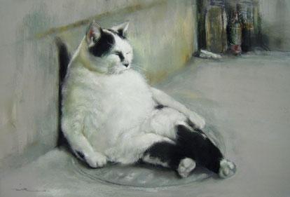 猫衆 ドラ猫 パステル画
