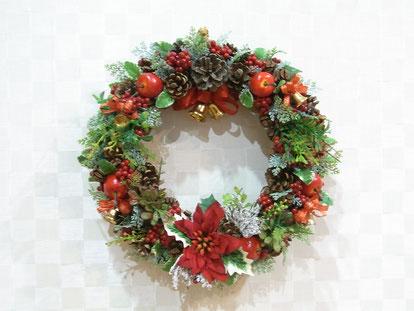 クリスマスリース、ポインセチア、画像