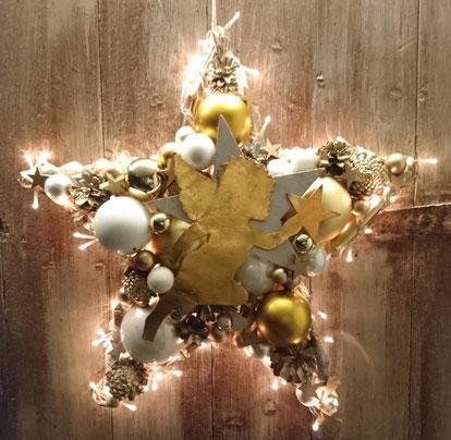 stern, türkranz, gold-weiß, stern mit licht, advent deko, weihnachtsdeko, winter deko, handgefertigter stern