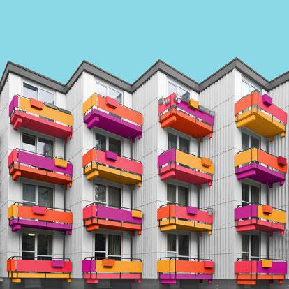 Studentenwohnheim Siegmundshof Hans Peter Poelzig, Klaus Ernst, Die Baupiloten Berlin Tiergarten colorful architecture
