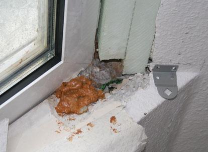 Mangelhafter Anschluss eines Schrägdachs an ein Dachfenster führt zu Leckagen.