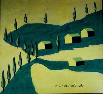 Acrylbild, acryl, toskana,bäume, baum, weg, haus, häuser, gelb, grün, menschen, herbst, herbstallee, gelb, braun, rot, bild, malen, malerei, kunst, geko, dekoration, wandbild, abstrakt