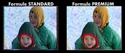aperçu comparatif d'une numérisation vidéo Standard et Premium