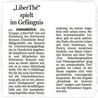 Marie Gabrielle & LiberThé spielen im Gefängnis - Osnabrück (NOZ November 2017)