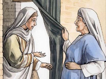 Elizabethe a été remplie d'esprit saint lorsqu'elle a reçu la visite de Marie, sa cousine. Le bébé a brusquement remué en elle.