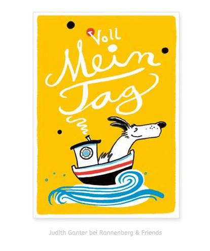 VOLL MEIN TAG! Glücklicher Bootshund, Postkarte, Motivationskarte - Illustration & Spruch von Judith Ganter, Hamburg - Verlag Rannenberg & Friends