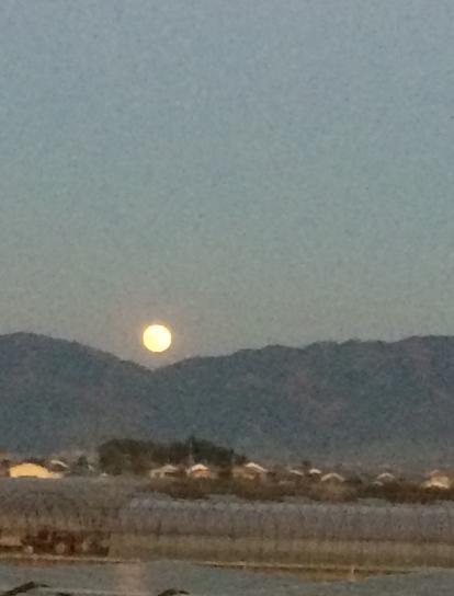 三輪山から昇る月(筆者撮影)