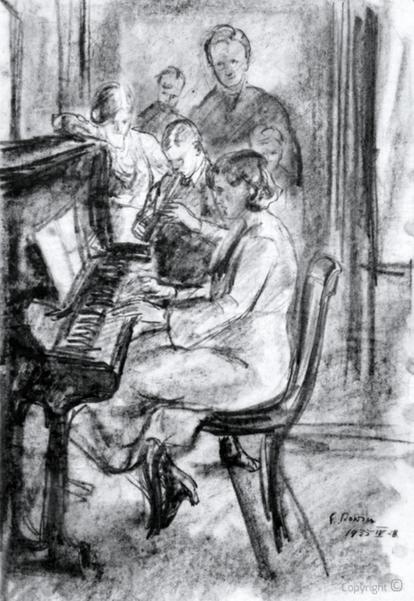 """Erwin Bowien (1899-1972): Hanns Heinen schaut seiner Gattin Erna Heinen-Steinhoff und seinen Kindern beim Musizieren im großen Salon des """"Schwarzen"""" Hauses zu"""