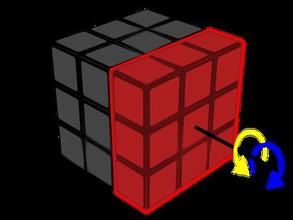Aquí se muestra el giro de la cara derecha: D (flecha azul); D' (flecha amarilla).