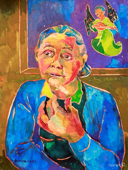 Bettina Heinen- Ayech (1937-2020)  - Erna Heinen-Steinhoff als Muse der Musik, 1957   Aquarell