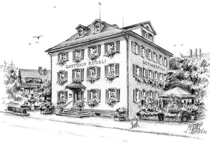 Eine Zeichnung des Gasthauses Rössli aus dem Jahr 2003.