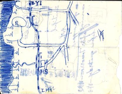 生徒手帳の中にあったメモ書きの地図