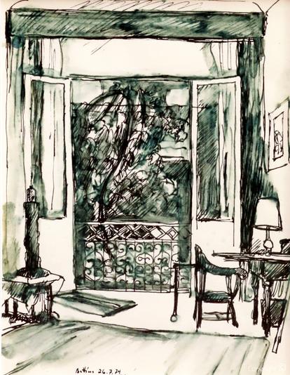 Bettina Heinen-Ayech (1937-2020):  Das Atelier von Bettina Heinen-Ayech in der Rue Abderrahmane Tabouche  in Guelma, 1974
