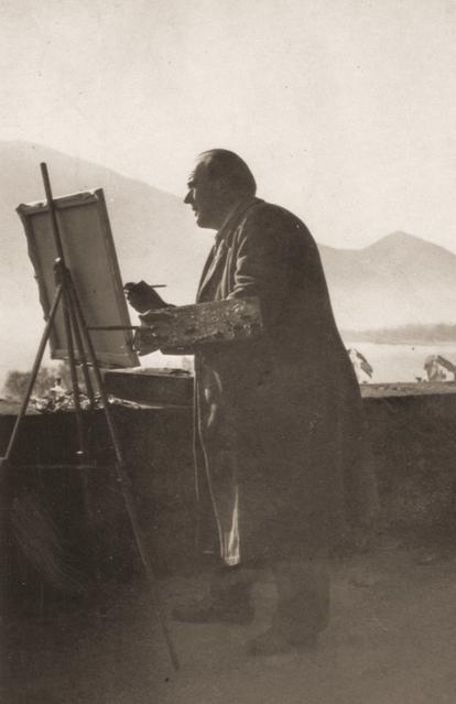 Erwin Bowien beim Malen am Lago Maggiore, 1956
