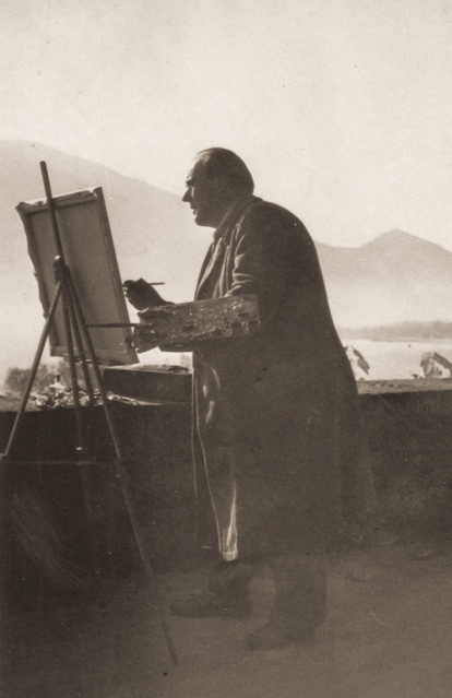 Erwin Bowien painting on Lake Maggiore, 1956