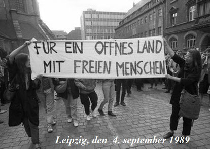 Venstreradikal, autonom blok i en kæmpe oppositionel demo i DDR, Østberlin 1989