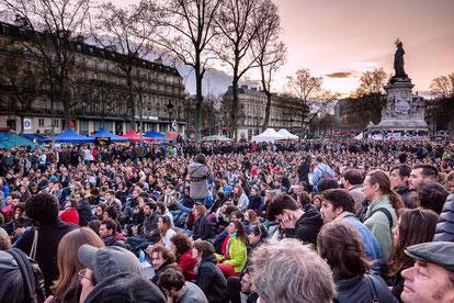 """""""Nuit Debout"""" - bevægelsen, Paris, d. 31. marts  2016"""