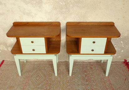 paire de table de chevet des années 50 en palissandre