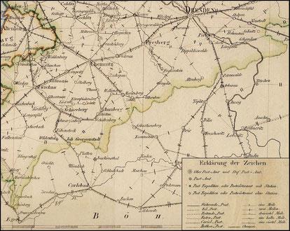 Erzgebirgische Postkarte um 1825