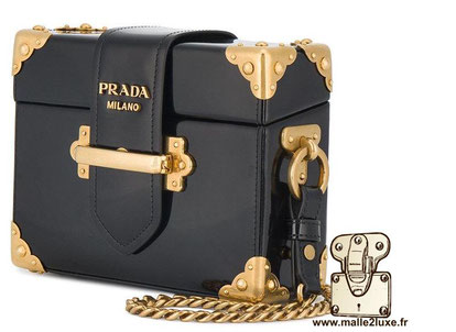 CAHIER MINI PATENT BOX BAG - PRADA mini trunk de luxe sac a main