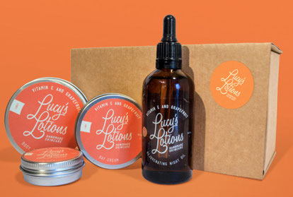 Lucy's Lotions Vitamin E & Grapefruit skincare products