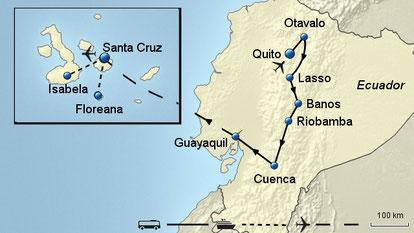 Erlebnis- und Naturreise Ecuador mit Wanderungen Cuicocha See & Nationalpark Cotopaxi und Cajas-Nationalpark, Eisenbahnfahrt um die Teufelsnase. Rundreise mit Bootsfahrten zu den Galapagos Inseln mit 4 Übernachtungen mit Inlandsflug Baltra