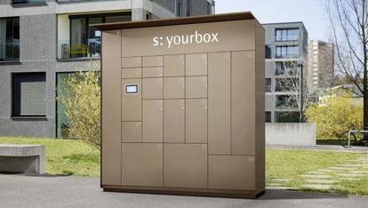 Paketbox / Paketfachanlage von Stebler und Glutz in braun