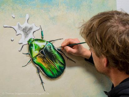 realistisch malen mit Acryl - Der schimmernde Käfer, Bild 4